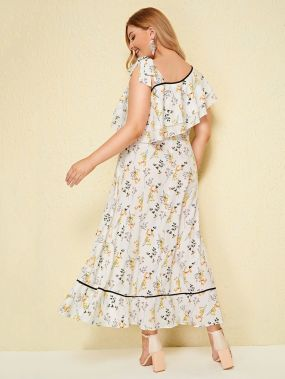 Асимметричное длинное платье размера плюс с цветочным принтом