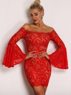 Joyfunear облегающее кружевное платье с открытыми плечами