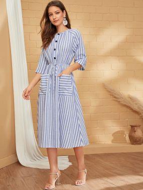 Платье в полоску на кулиске с пуговицами