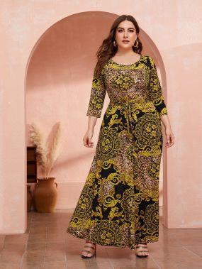 Леопардовое платье с поясом и графическим принтом размера плюс