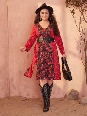 Миди-платье размера плюс с цветочным принтом
