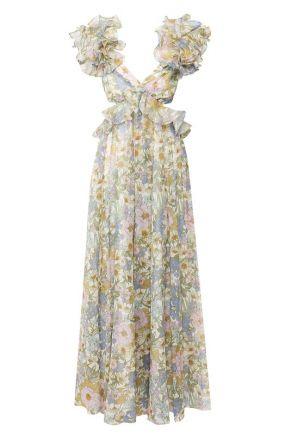 Платье из смеси хлопка и шелка Zimmermann