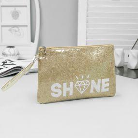 Косметичка-сумка, отдел на молнии, цвет золотой, shine