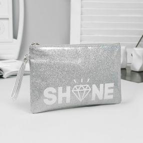 Косметичка-сумка, отдел на молнии, цвет серебристый, shine