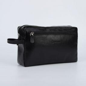 Косметичка дорожная, отдел на молнии, 2 наружных кармана, с ручкой, цвет чёрный