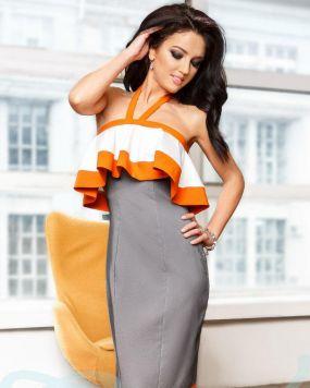 Цветное платье-бандо