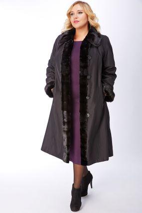 Женское пальто на большой размер на меху с норковой отделкой
