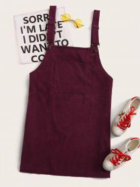 Однотонное вельветовое сарафан-платье размера плюс