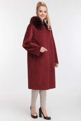 Женское пальто из шерсти и ангоры с меховым воротником