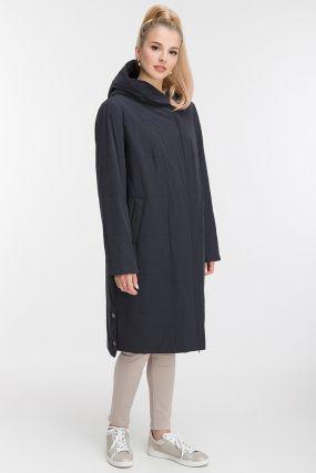 Женское демисезонное длинное пальто на молнии