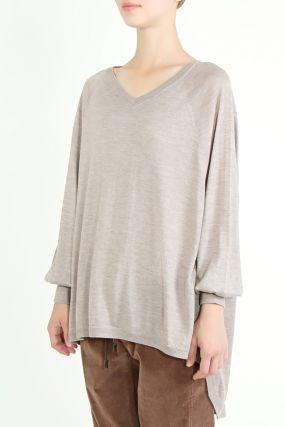 Удлиненный бежевый пуловер
