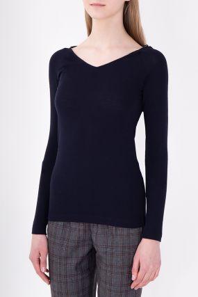 Темно-синий облегающий пуловер