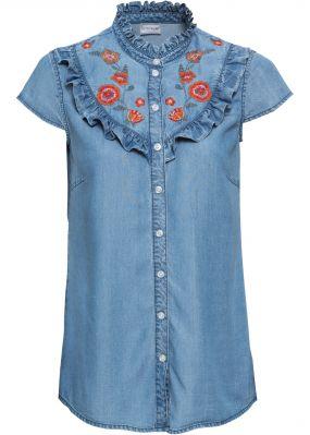 Блузка джинсовая с вышивкой
