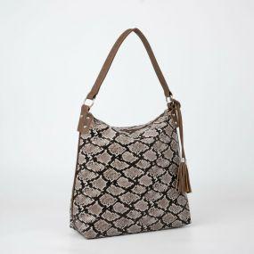 Сумка-мешок, отдел на молнии, наружный карман, анималистичный принт, цвет коричневый
