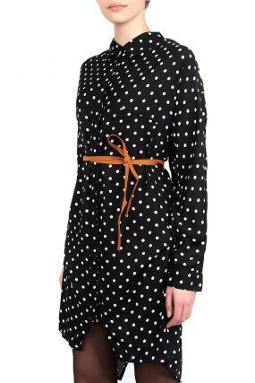 Платье-рубашка с узором в горох