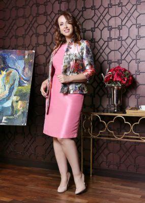 Шелковый костюм: блестящий пиджак и платье MR008B
