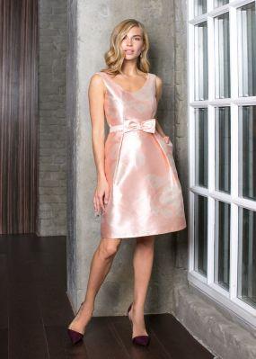 Атласное платье с бантом VE005