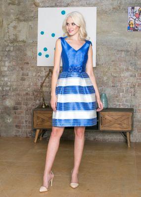 Короткое синее платья с полосками VE017