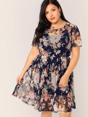 Платье С Цветочным Принтом Размер Плюс