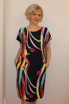 Платье вискозное Синди (красные ленты)