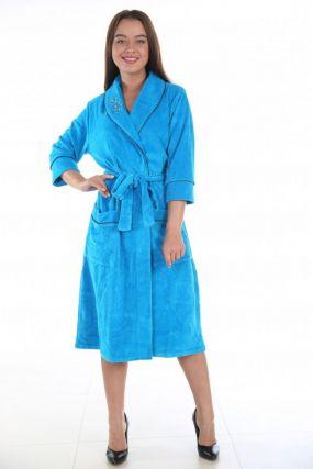Халат велюровый Линда (голубой)