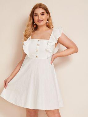 Платье размера плюс с квадратным вырезом и пуговицами