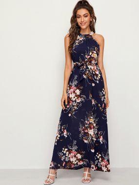 Платье Макси С Поясом И Цветочным Принтом