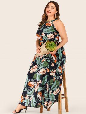 Платье с поясом, халтером и цветочным принтом размера плюс
