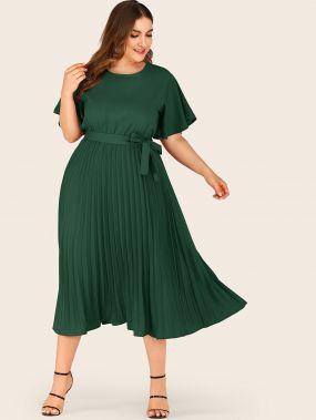 Плиссированное Платье С Рукавом Крылышко Размер Плюс