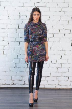 Платье трикотажное Хеллен (серо-желтое)
