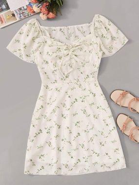 Мини Платье С Цветочным Принтом С Коротким Рукавом
