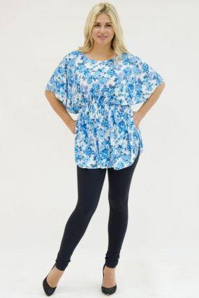 Туника трикотажная Бианка (голубые цветы)