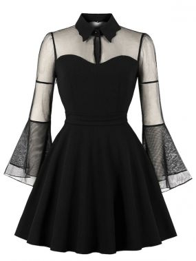 Платье размера плюс с сетчатым рукавом