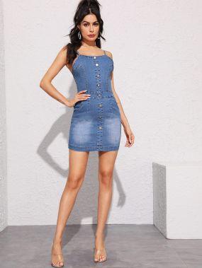 Облегающее джинсовое платье с пуговицами