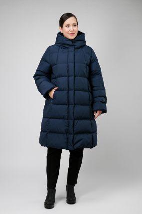 Зимний пуховик с капюшоном для больших размеров