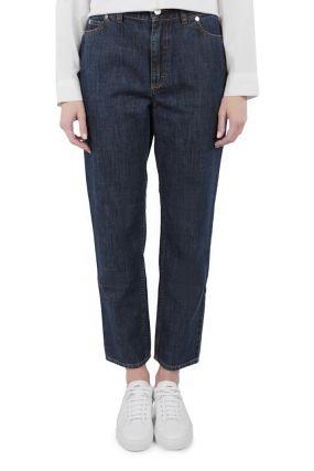 Укороченные темные джинсы