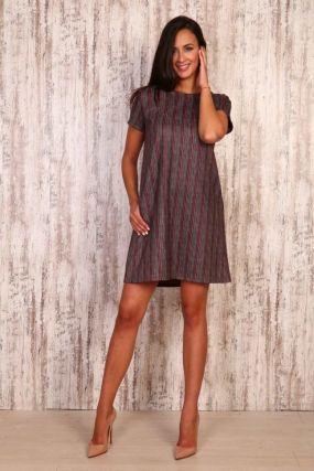 Платье замшевое Лили (серо-розовое)
