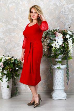 Платье трикотажное Энни (красное)