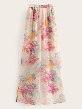 Широкие брюки с эластичной талией и цветочным принтом
