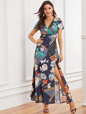 Платье в горошек на запах с завязкой и цветочным принтом