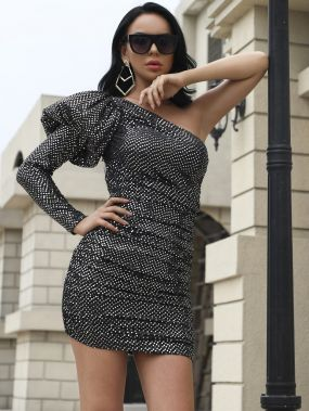 Missord облегающее платье на одно плечо с пышными рукавами и блестками