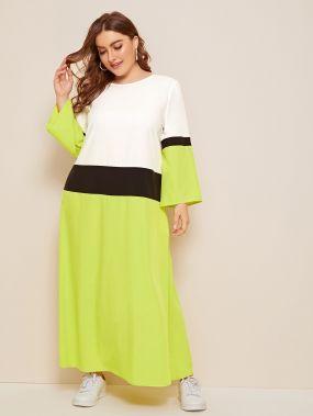 Контрастное платье размера плюс
