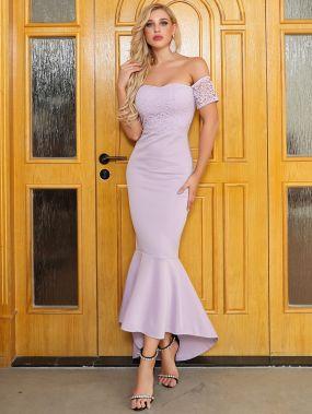 Missord платье-русалка с открытыми плечами и кружевной вставкой