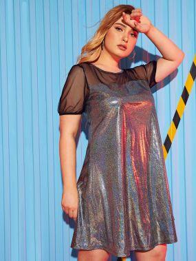 Комбинированное Платье Из Блестящей Ткани С Вставкой Размер Плюс