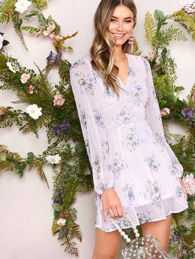 Платье в горошек с цветочным принтом