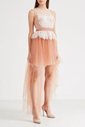 Многослойное оранжевое платье