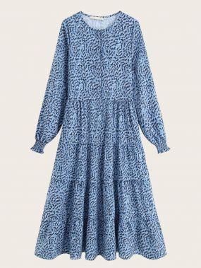 Расклешенное Платье Из Многослойных Оборок С Цветочным Принтом