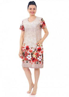 Платье трикотажное Инесса (бежевое)