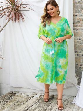 Разноцветное платье на кулиске с разрезом размера плюс