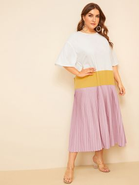 Контрастное платье с заниженной линией плеч размера плюс